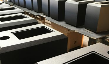 At our production facility, creating the cabinets for our Ocean Way Audio Pre2A monitors.