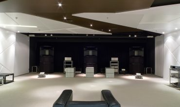 Hong Kong Showroom This sleek showroom features OWA HR2 speakers in an LCR configuration.