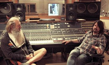 Rick Rubin and Dave Grohl At Dave Grohl's Studio 606 in Los Angeles, with a pair of OWA 415T speakers.