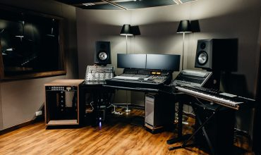 El Lugar de Su Presenci Church Production Studios in Bogota, Colombia, designed by Malvicino Design Group. This studio features a pair of Ocean Way Audio Pro2A monitors.